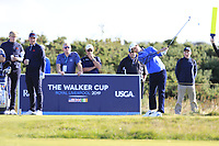 Cole Hammer (USA) on the 4th tee during the final day foursomes matches at the Walker Cup, Royal Liverpool Golf Club, Hoylake, Cheshire, England. 08/09/2019.<br /> Picture Fran Caffrey / Golffile.ie<br /> <br /> All photo usage must carry mandatory copyright credit (© Golffile | Fran Caffrey)