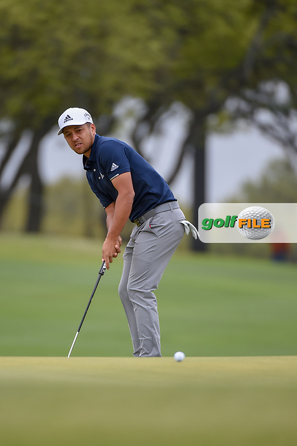 Xander Schauffele (USA) watches his putt on 1 during day 3 of the WGC Dell Match Play, at the Austin Country Club, Austin, Texas, USA. 3/29/2019.<br /> Picture: Golffile | Ken Murray<br /> <br /> <br /> All photo usage must carry mandatory copyright credit (© Golffile | Ken Murray)