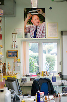 Design Technology teacher's office with large photo of him above.  State secondary school.