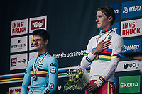 Mikkel Bjerg (DEN) wins the U23 TT title for the 2nd year in a row<br /> while Brent Van Moer (BEL/Lotto-Soudal) finishes 2nd<br /> <br /> MEN UNDER 23 INDIVIDUAL TIME TRIAL<br /> Hall-Wattens to Innsbruck: 27.8 km<br /> <br /> UCI 2018 Road World Championships<br /> Innsbruck - Tirol / Austria