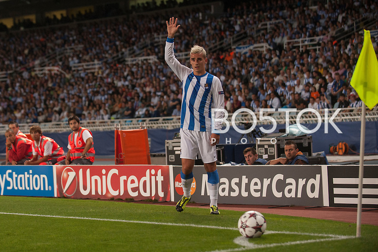 Antoine Griezmann of Real Sociedad de Futbol in action. Donostia - San Sebastian (Basque Country) August 28, 2013. UEFA Champions League play-off second leg, Real Sociedad against Olympique Lyonnais. (Gari Garaialde / Bostok Photo)