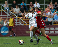 Newton, Massachusetts - September 10, 2017: NCAA Division I. Boston College (white) defeated Boston University (red), 3-0, at Newton Campus Soccer Field.<br /> Goal scoring run by Carly Leipzig.