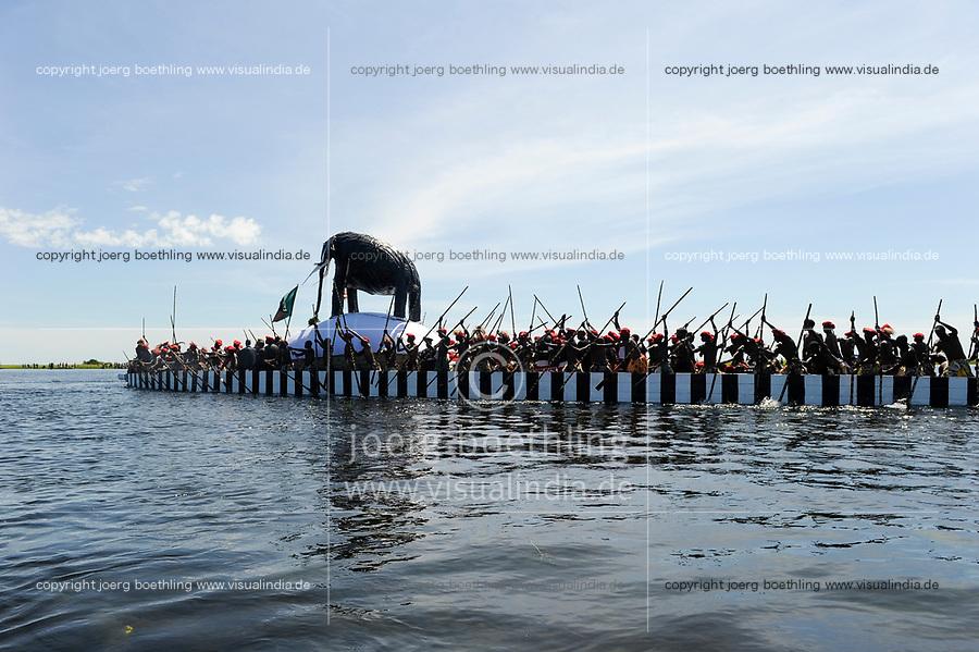 Africa ZAMBIA Barotseland , Zambezi floodplain , Kuomboka ceremony in Lealui, the Lozi king Lubosi Imwiko II. also called Litunga, change his residence after raining time with the royal bark Nalikwanda  from Lealui to his palace in Limulunga