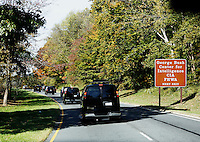 The Presidential motorcade drives on the George Washington Parkway to the Woodmont Country Club in Rockville, Maryland, where United States President Barack Obama will go golfing, October 29, 20016. <br /> Credit: Aude Guerrucci / Pool via CNP /MediaPunch