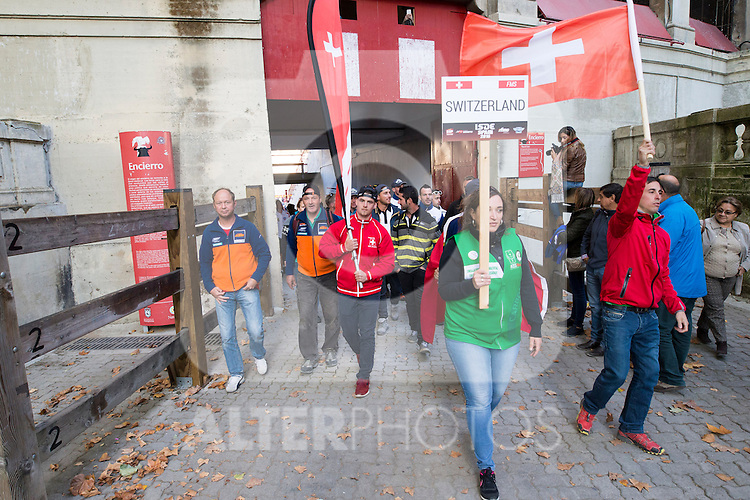 Switzerland enduro team during the presentation of the FIM international six days of enduro 2016 in Pamplona, Spain. October 09, 2016. (ALTERPHOTOS/Rodrigo Jimenez)