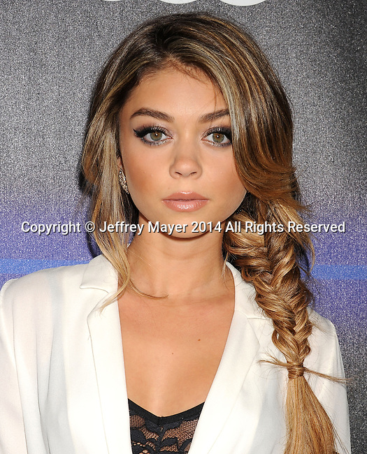 LOS ANGELES, CA- AUGUST 21: Actress Sarah Hyland arrives at the Audi Emmy Week Celebration at Cecconi's Restaurant on August 21, 2014 in Los Angeles, California.