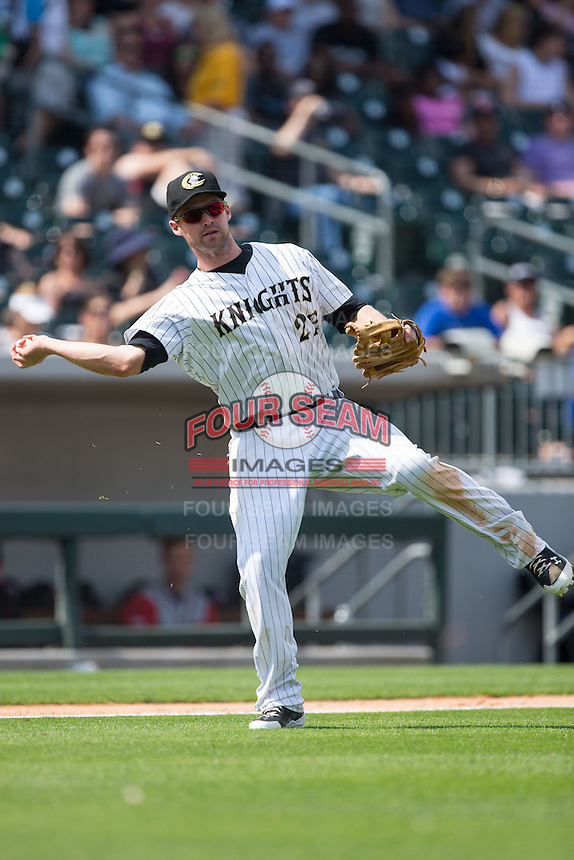 Charlotte Knights third baseman Matt Davidson (22) on defense against the Gwinnett Braves at BB&T BallPark on May 22, 2016 in Charlotte, North Carolina.  The Knights defeated the Braves 9-8 in 11 innings.  (Brian Westerholt/Four Seam Images)