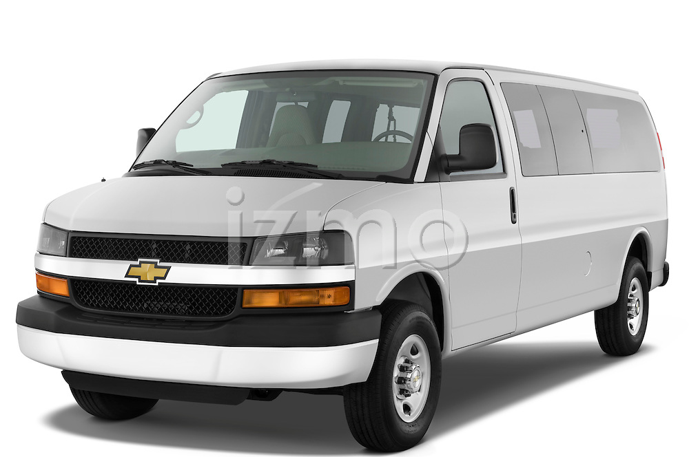 Front three quarter view of a 2008 chevrolet express 3500 passenger van.