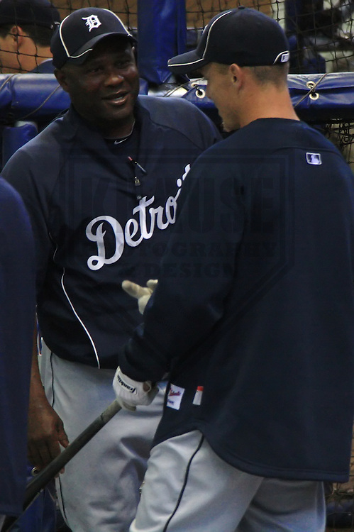 MILWAUKEE - APRIL 2010: Lloyd McClendon of the Detroit Tigers talks to a player around the batting cages prior to a game on April 3, 2010 at Miller Park in Milwaukee, Wisconsin. (Photo by Brad Krause)