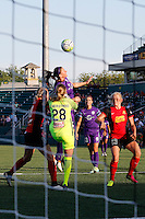 Rochester, NY - Saturday June 11, 2016: Orlando Pride forward Laura Alleway (5), Western New York Flash goalkeeper Britt Eckerstrom (28) during a regular season National Women's Soccer League (NWSL) match between the Western New York Flash and the Orlando Pride at Rochester Rhinos Stadium.