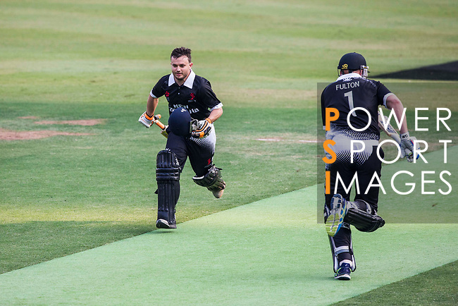 Brad Cachopa and Captain Peter Fulton of New Zealand Kiwis run between the wickets during Day 1 of Hong Kong Cricket World Sixes 2017 Group B match between New Zealand Kiwis vs Bangladesh at Kowloon Cricket Club on 28 October 2017, in Hong Kong, China. Photo by Vivek Prakash / Power Sport Images