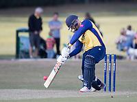 Simon Harmer of Essex drives during Upminster CC vs Essex CCC, Benefit Match Cricket at Upminster Park on 8th September 2019