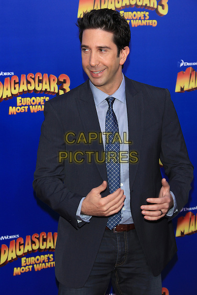 "David Schwimmer.The New York Premiere of ""Madagascar 3: Europe's Most Wanted"" held at Ziegfeld Theater, New York, NY, USA..June 7th, 2012.half length black suit blue tie hands .CAP/LNC/TOM.©LNC/Capital Pictures."
