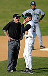 24 April 2007: University of Vermont Catamounts' Head Coach Bill Currier (right), in his 20th season at UVM, listens to Umpire Brewster Gove explain a balk ruling during a game against the Dartmouth College Big Green at Historic Centennial Field, in Burlington, Vermont. The Catamounts defeated the Big Green 11-5...Mandatory Photo Credit: Ed Wolfstein Photo