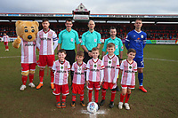 Pre-match line-up during Stevenage vs Crewe Alexandra, Sky Bet EFL League 2 Football at the Lamex Stadium on 10th March 2018