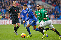 (L-R) Josh Murphy of Cardiff City closely followed by Anthony Knockaert of Brighton  during the Premier League match between Cardiff City and Brighton & Hove Albion at the Cardiff City Stadium, Cardiff, Wales, UK. Saturday 10 November 2018
