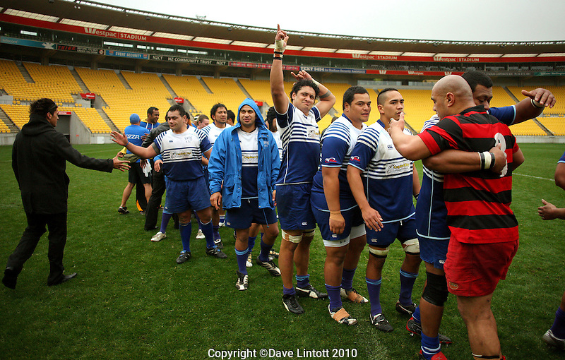 The teams shake hands after the match. Wellington club rugby Jubilee Cup final between Northern United and Poneke at Westpac Stadium, Wellington, New Zealand on Sunday, 15 August 2010. Photo: Dave Lintott/lintottphoto.co.nz