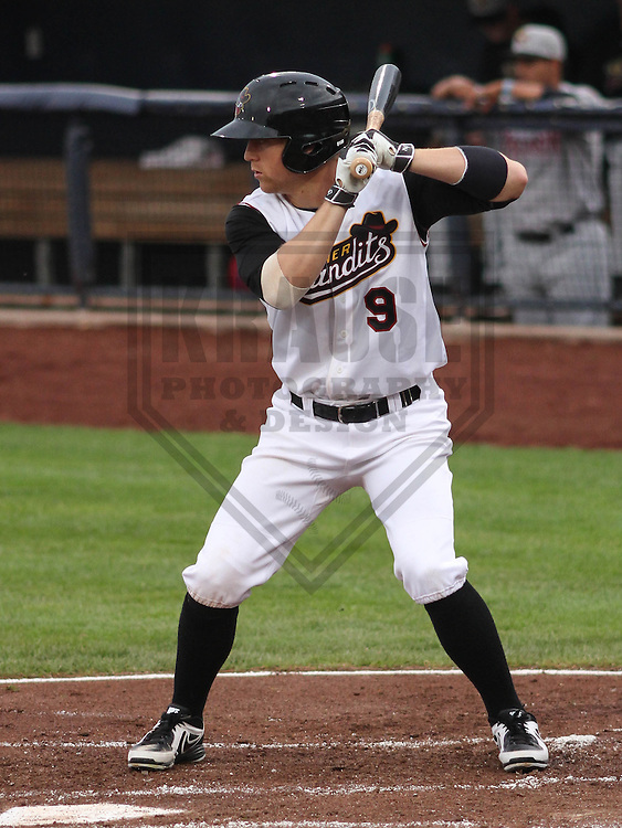DAVENPORT - May 2015: Quad Cities River Bandits outfielder Ryan Bottger (9) during a Midwest League game against the Wisconsin Timber Rattlers on May 8th, 2015 at Modern Woodmen Park in Davenport, Iowa.  Quad Cities defeated Wisconsin 11-6.  (Brad Krause/Krause Sports Photography)
