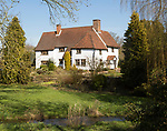 Large detached country home with garden and stream, near Kersey, Suffolk, England, UK