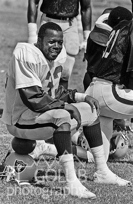Oakland Raiders training camp August 10, 1982 at El Rancho Tropicana, Santa Rosa, California.   Oakland Raiders full back Kenny King (33).