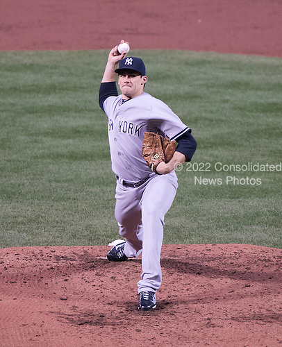 New York Yankees starting pitcher Nathan Eovaldi (30) pitches in the second inning against the Baltimore Orioles at Oriole Park at Camden Yards in Baltimore, MD on Wednesday, April 15, 2015. <br /> Credit: Ron Sachs / CNP<br /> (RESTRICTION: NO New York or New Jersey Newspapers or newspapers within a 75 mile radius of New York City)