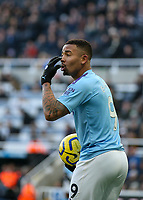 30th November 2019; St James Park, Newcastle, Tyne and Wear, England; English Premier League Football, Newcastle United versus Manchester City; Gabriel Jesus of Manchester City complains to the assistant official after a corner was not given - Strictly Editorial Use Only. No use with unauthorized audio, video, data, fixture lists, club/league logos or 'live' services. Online in-match use limited to 120 images, no video emulation. No use in betting, games or single club/league/player publications