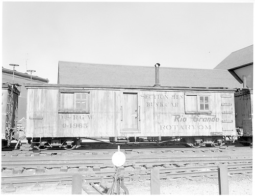 Section men bunk car 04965 assigned to Rotary OM at Durango.<br /> D&amp;RGW  Durango, CO  Taken by Payne, Andy M. - 4/14/1964