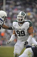 27 November 2010:  Michigan State DT Jerel Worthy (99)..The Michigan State Spartans defeated the Penn State Nittany Lions 28-22 to win the Land Grant Trophy at Beaver Stadium in State College, PA..