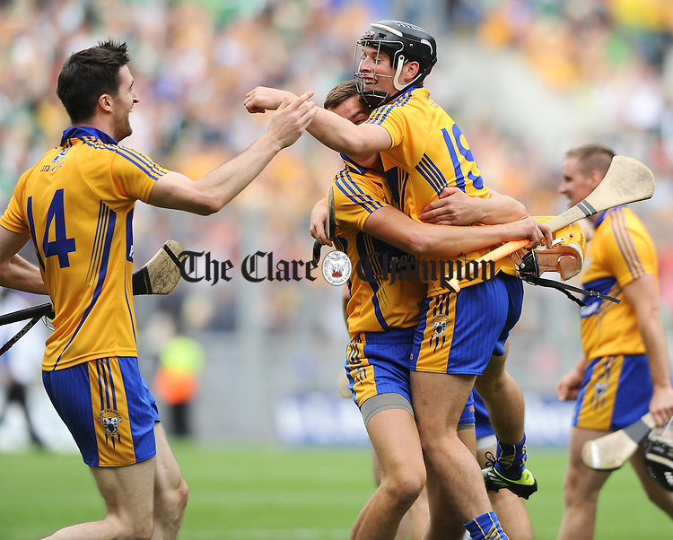 Clare's Darach Honan, Peter Duggan and Nicky O Connell celebrate following the All-Ireland senior championship semi final against Limerick at Croke Park. Photograph by John Kelly.