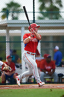 GCL Phillies right fielder Aaron Brown (23) at bat during a game against the GCL Pirates on August 6, 2016 at Pirate City in Bradenton, Florida.  GCL Phillies defeated the GCL Pirates 4-1.  (Mike Janes/Four Seam Images)