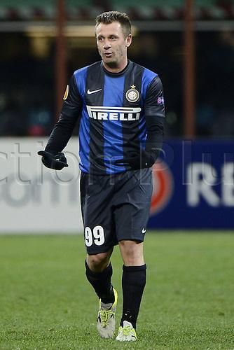 14.03.2013. Milan, Italy. Europa League second leg tie, Inter Milan versus Tottenham Hotspur. Photo shows as Antonio Cassano celebrates his goal for Inter