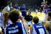 The Giants huddle during the national basketball league match between Wellington Saints and Nelson Giants at TSB Bank Arena in Wellington, New Zealand on Thursday, 26 July 2018. Photo: Dave Lintott / lintottphoto.co.nz