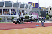 Baton Rouge, LA, August 31, 2008 -- A medical evacuation takes place on the campus of Louisiana State University Track as the Pete Maravich Assembly Center (in background) has been transformed into the Medical Special Needs Shelter (MSNS). The team unloading the patient is the Disaster medical Assistance Team (DMAT-1) from Boston supported by a US Army Blackhawk crew, demonstrates the teamwork and cooperation, state and federal as preparations for hurricane Gustav take place. .Credit: Barry Bahler - FEMA via CNP