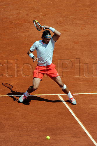 27.05.2013 Paris, France. Rafael Nadal of Spain in action during the match between Rafael Nadal of Spain and Daniel Brands of Germany in the first round of the French Open from Roland Garros.