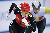 1st February 2019, Dresden, Saxony, Germany; World Short Track Speed Skating; 1000 meters men in the EnergieVerbund Arena. Haidong Jia from China runs in a curve.