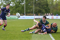 Harry Sheppard of London Scottish passes the ball during the Greene King IPA Championship match between London Scottish Football Club and Nottingham Rugby at Richmond Athletic Ground, Richmond, United Kingdom on 15 April 2017. Photo by David Horn.