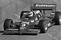 Bobby Rahal drives the Budweiser-sponsored Truesports March 86C Cosworth in the 1986 CART IndyCar race in Long Beach, California.