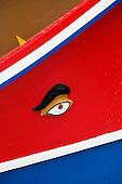 Maltese fishing boat called Luzzu. Detail on eye.