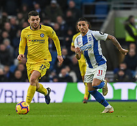 Chelsea's Mateo Kovacic (left) under pressure from Brighton & Hove Albion's Anthony Knockaert (right) <br /> <br /> Photographer David Horton/CameraSport<br /> <br /> The Premier League - Brighton and Hove Albion v Chelsea - Sunday 16th December 2018 - The Amex Stadium - Brighton<br /> <br /> World Copyright © 2018 CameraSport. All rights reserved. 43 Linden Ave. Countesthorpe. Leicester. England. LE8 5PG - Tel: +44 (0) 116 277 4147 - admin@camerasport.com - www.camerasport.com