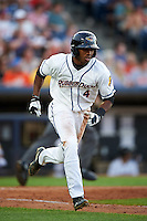 Akron RubberDucks center fielder Greg Allen (4) runs to first base during a game against the Richmond Flying Squirrels on July 26, 2016 at Canal Park in Akron, Ohio .  Richmond defeated Akron 10-4.  (Mike Janes/Four Seam Images)