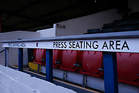Press seating area ahead of Hampton & Richmond Borough vs Oldham Athletic, Emirates FA Cup Football at the Beveree Stadium on 12th November 2018