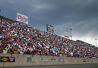 Jul 23, 2016; Morrison, CO, USA; NHRA fans in the grandstands during qualifying for the Mile High Nationals at Bandimere Speedway. Mandatory Credit: Mark J. Rebilas-USA TODAY Sports