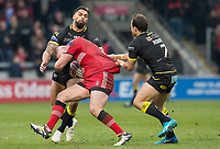 Picture by Allan McKenzie/SWpix.com - 07/04/2018 - Rugby League - Betfred Super League - Salford Red Devils v Warrington Wolves - AJ Bell Stadium, Salford, England - Salford's Josh Jones is tackled by Warrington's Ryan Atkins and Tyrone Roberts.