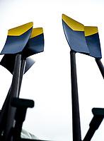 Henley-on-Thames. United Kingdom.  University of California, Berkley. USA. Blades in the oar rack. 2017 Henley Royal Regatta, Henley Reach, River Thames. <br /> <br /> 15:06:38  Thursday  29/06/2017   <br /> <br /> [Mandatory Credit. Peter SPURRIER/Intersport Images.