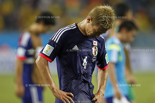 Keisuke Honda (JPN), JUNE 24, 2014 - Football / Soccer : Keisuke Honda of Japan looks dejected after loss of FIFA World Cup Brazil 2014 Group C match between Japan 1-4 Colombia at the Arena Pantanal in Cuiaba, Brazil. (Photo by AFLO)