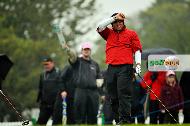 Overnight leader, Francesco Molinari, not impressed after teeing off to start his second 9 holes the 1st tee during Round 2 of the 3 Irish Open on 15th May 2009 (Photo by Eoin Clarke/GOLFFILE)