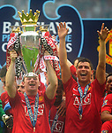 Manchester United's Wayne Rooney lifts the FA Premier League Trophy during the Premier League match at The JJB Stadium, Wigan. Picture date 11th May 2008. Picture credit should read: Simon Bellis/Sportimage