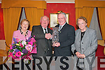 THE WORLD IS YOUR OYSTER: On his retirement after 30 years as chairman, Michael Quinn received an appreciation award from Tony Scanlon, Chairman of Tralee Oyster Fishery Society, last Saturday night at The Meadowlands Hotel, Tralee. Also were Eileen Quinn and Betty Scanlon.
