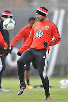Forward Carlos Ruiz (20) of D.C. United  warming up during the pre-season practice at the auxiliary fields at RFK Stadium, Thursday February 28, 2013.
