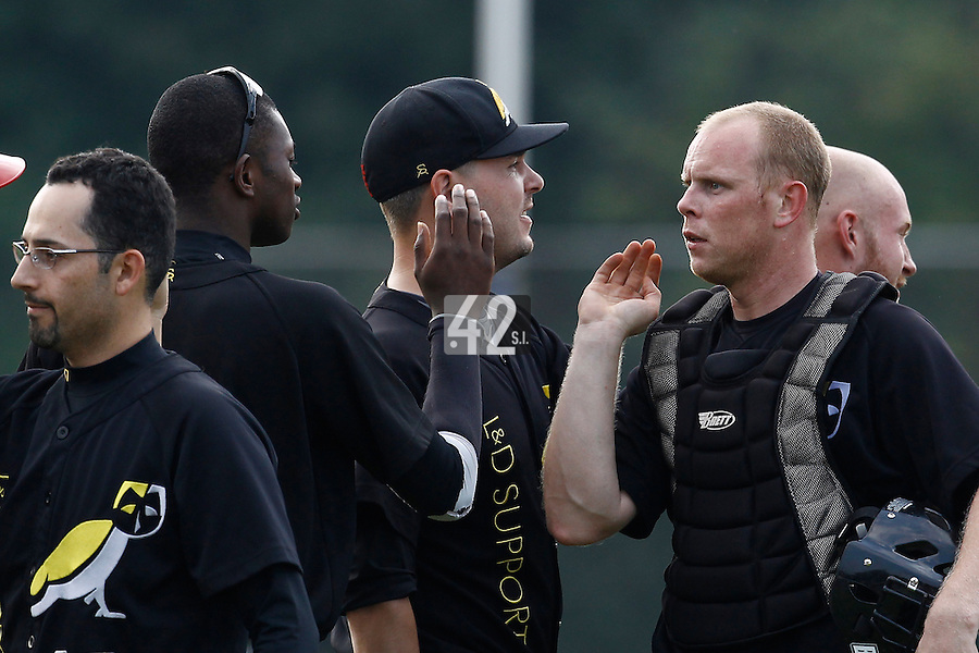 03 September 2011: Catcher Sidney de Jong celebrates during game 1 of the 2011 Holland Series won 5-4 in inning number 14 by L&D Amsterdam Pirates over Vaessen Pioniers, in Hoofddorp, Netherlands.